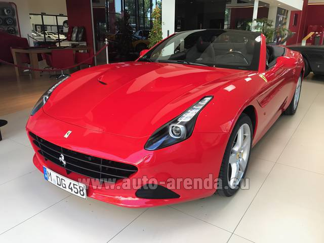 Hire and delivery to the Bresso airport the car Ferrari California T Convertible Red