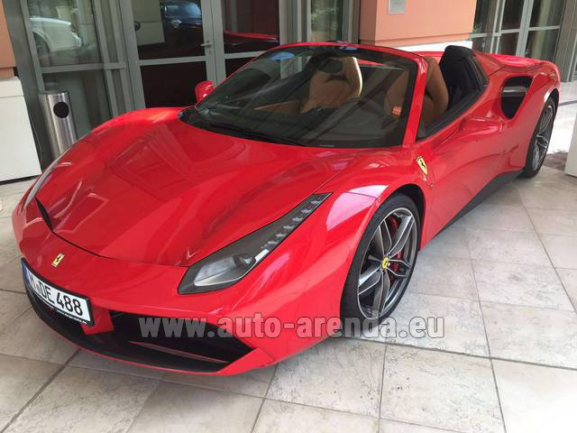 Hire and delivery to the Bresso airport the car Ferrari 488 GTB Spider Cabrio