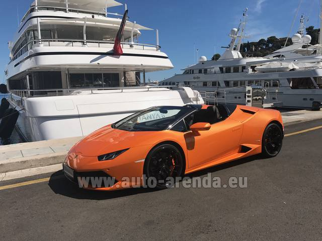 Hire and delivery to the Bresso airport the car Lamborghini Huracan Spyder Cabrio