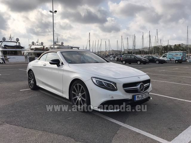 Hire and delivery to the Bresso airport the car Mercedes-Benz S 63 Cabrio AMG