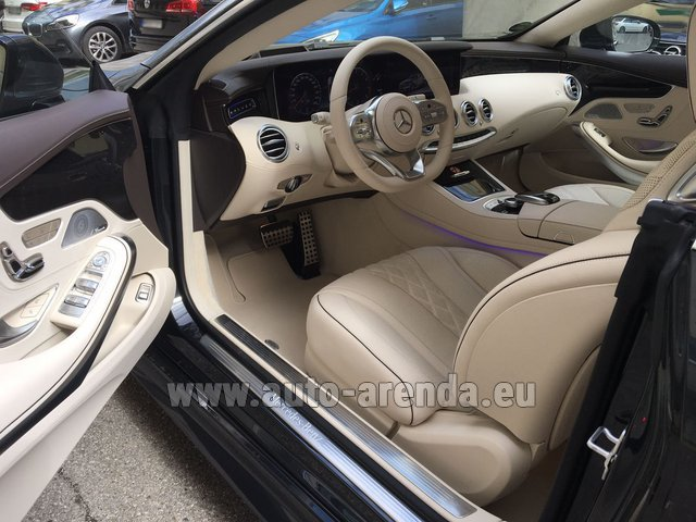 Hire and delivery to the Milano Linate airport (LIN) the car Mercedes-Benz S-Class S 560 4MATIC Coupe